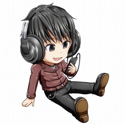 音楽をヘッドフォンで聴いている