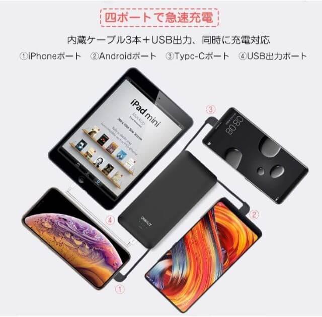 OMKYUのコンセント付きモバイルバッテリーは4台充電可能